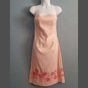 Pink, white, coral floral stitching sundress